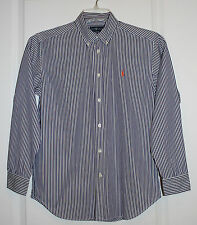 Pre-Owned Ralph Lauren Boys Striped Button Down Shirt W/ Orange Horse -L (14-16)