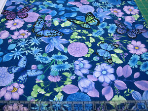 3 Yards Quilt Cotton Fabric - Timeless Treasures Forest Magic Flowers Butterflys