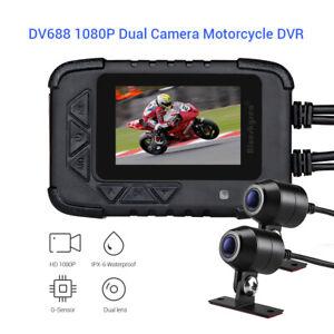 DV688 Waterproof Bike Mount DVR Loop Recording G-Sensor Dash Cam Front&Rear Lens