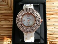 Figaro Couture Womens Watch Rose Gold White Rubber Band Crystals Bling NIB!