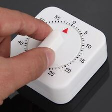 60 Minutes Kitchen Timer Count Down Alarm Reminder White Square Mechanical Timer