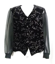 ANOTHER THYME Women's Formal/Casual Size S Black/Silver Glitter Blouse Top ~ USA