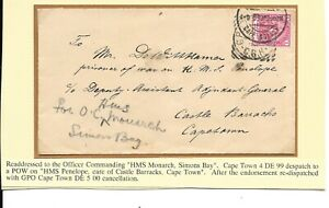BOER WAR CENSORED COVER TO POW ON HMS PENELOPE De WITT HAMER CORRESPONDENCE.