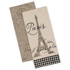 Dish Towels - Set of 2 - Eiffel Tower, Paris, Script, Fleur de Lis Design by DII