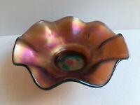 Dugan Daisy Dear Amethyst Purple Carnival Glass Ruffled Bowl Circa 1909 Antique