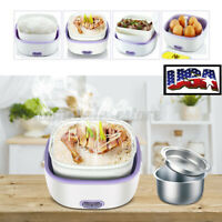 US 110V Stainless Steel Electric Lunch Box Rice Cooker Food Steamer Home Kitchen