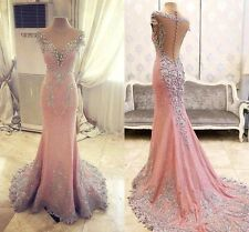 Mermaid Lace Appliques Prom Evening Party Dress Formal Celebrity Real Image Gown