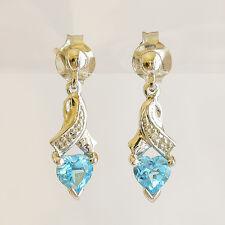 NATURAL BLUE TOPAZ WHITE GOLD EARRINGS HEART SHAPE TOPAZ DIAMONDS REAL 9K DROPS