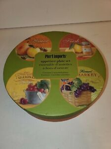 "Pier 1 Imports 6"" Small Appetizer Glass Plates Fruit Motif H'ordeuvres Set Of 4"
