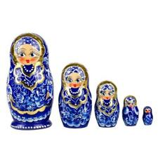 Russian Nesting Dolls Matryoshka Gzhel Pattern Hand Painted 5 pcs/ H 4""