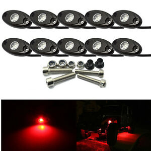 10PCS RED CREE LED Rock Light JEEP Offroad Truck Boat Under Body Trail Rig Light
