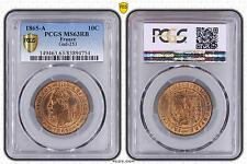 M5488 Rare 10 Centimes Napoléon III 1865 A Paris PCGS MS63 RB SPLENDIDE