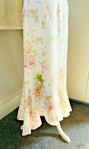 Per Una 100% Linen Floral Maxi Prairie  Romantic Rose Hitched Skirt UK Size 14r
