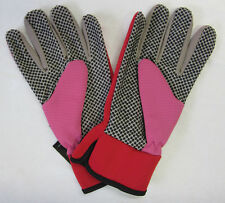 New Searles Ladies Protective Gardening Gloves Red & Pink With Grip Dots