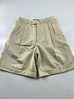 "Ralph Lauren Golf Pleated Front Cuffed Beige Polyester Shorts 2. 26x8x11"""