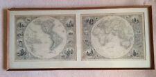 Eastern and Western Hemisphere Maps, Engraved, Tallis, Rankin, Mail, Vintage