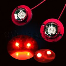 2x Bike Motorcycle Round High Power LED Decorative Strobe Flash Light Lamp RED