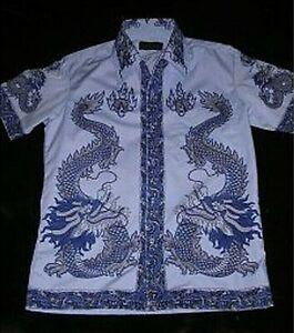 Wunderschönes Drachen Hemd / M / hell & dunkel Blau / Shirt / Chemise / Camicia
