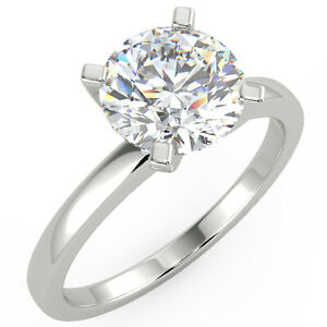 1.6 Ct Round Cut SI2/E Solitaire Diamond Engagement Ring 14K White Gold
