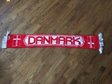 Vintage Danmark Football Scarf Red And White 100% Acrylic Made In Great Britain