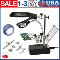 Helping Hand Soldering Stand With Magnifier Magnifying Glass Lens  2 LED Light