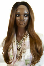 Dark Brown with Caramel ombre bottom Long Lace Front Monofilament Straight Wigs