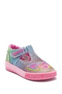 NIB Lelli Kelly Girls Shoes Toddler Sz 4 Rainbow Hearts LK5023 Multi Glitter NEW