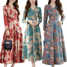 Womens Floral V Neck Long Sleeve Swing Maxi Dress Casual Party A-Line Dresses US