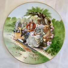 "Antique Limoges Portrait Plate 10.5"" Diameter French Man and Lady on Bench"