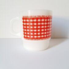 Anchor Hocking Fire King Milk Glass Coffee Mug Red Gingham Pattern
