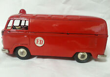 Tin Friction Volkswagen Fire Dept. Van /  Micro-Bus Made In Japan By Bandai