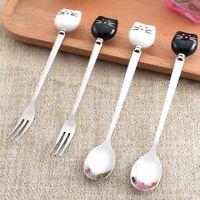 Steel Ceramic Tableware Tea Scoops Dinnerware Cat Coffee Spoons Fruit Fork