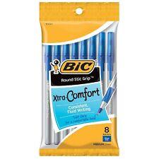 Bic Xtra-Comfort Ultra Round Stic Grip Ball Pen, Medium Point, Blue 8 ea (2pk)