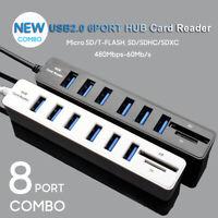 8 Port 2.0 HUB SD Memory Card Reader Splitter High Speed 3ft Cord USB Multi Port