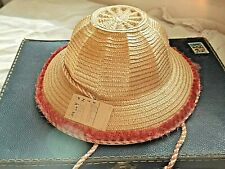 Ancien Chapeau de paille enfant 1950 Vintage rouge