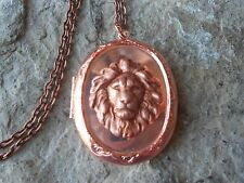 LION ROSE GOLD TONE COPPER LOCKET - AFRICAN, AFRICA, LION'S HEAD