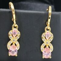 Sparkling Pink Sapphire Earrings Women Anniversary Jewelry 14K Rose Gold Plated