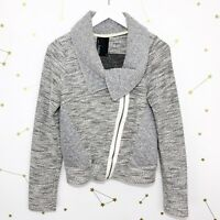 Anthropologie Moto Jacket Size Small S Gray Quilted Tweed Asymmetrical Zip Dolan