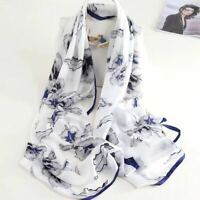 """Womens 100% Mulberry Silk  Large Long White Flower Scarves Shawl 69""""*26"""" Gifts"""