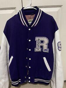 Vintage Roots Canada Size XL Purple Wool Leather Bomber Letterman Varsity Jacket