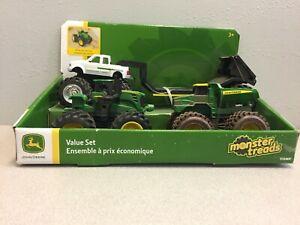 TOMY 47183 Monster Treads John Deere Trucks Plastic Green 4 pc
