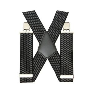 50mm Unisex Men trouser Braces Black Wide Heavy Duty Suspenders High flexibilit