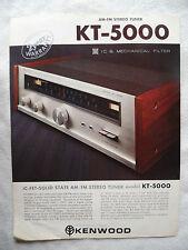 KENWOOD KT 5000.  PROSPEKT 2 SEITEN,1 BLATT von 1970,KT 5000 TUNER,ENGLISCH
