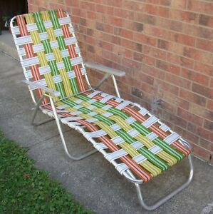 Vintage Aluminum Webbed Folding Lawn LOUNGE Chair Chaise green yellow orange