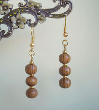 Brown Burly Wood Bead Gold Plated Dangly Drop Earrings