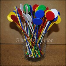 "7"" ASSORTED COLOUR DISC COCKTAIL STIRRERS SWIZZLE MIXER STICKS PACK OF 25"