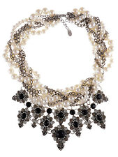 Silver Tone Enamel Cluster Style Pearl Rhinestone Onyx Inspired Adjust Necklace