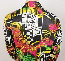 Mens Vtg 70s Style Funky Psychedelic Crazy Print Fresh Prince Festival Shirt XL