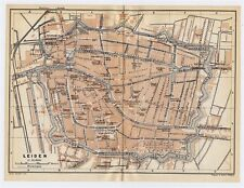 1910 ORIGINAL ANTIQUE MAP OF LEIDEN / NETHERLANDS HOLLAND