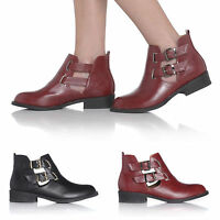 NEW WOMENS DOUBLE BUCKLE CUT GAP ANKLE BOOTS FLAT CHELSEA LADIES SIZES 3-8 UK